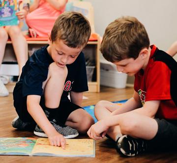 boys reading at preschool